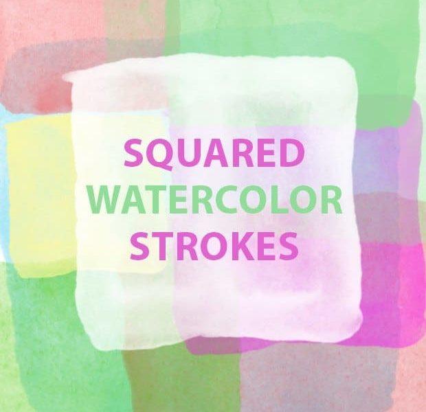 Squared watercolour paint strokes free Photoshop brush set