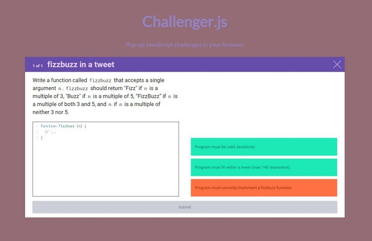 Adds Interactive Programming Challenges to Any Page
