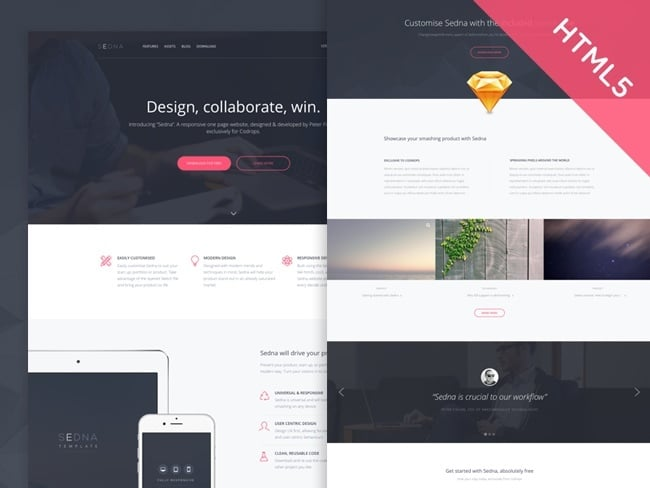 Sedna – Responsive HTML5 One Page Website Template