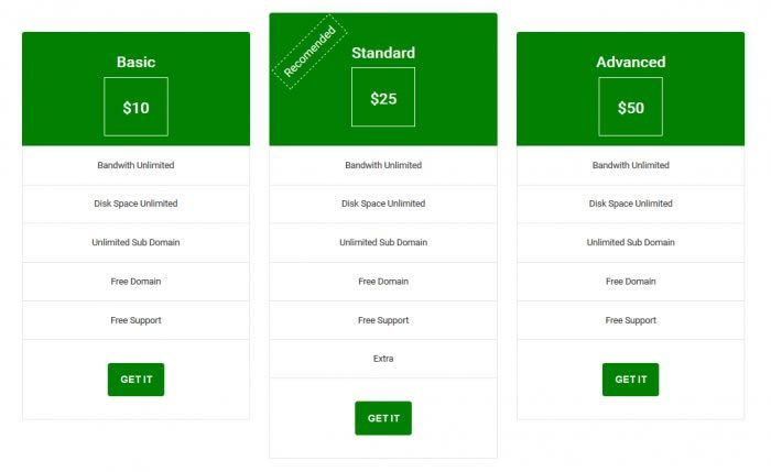 Responsive Pricing Table with Bootstrap