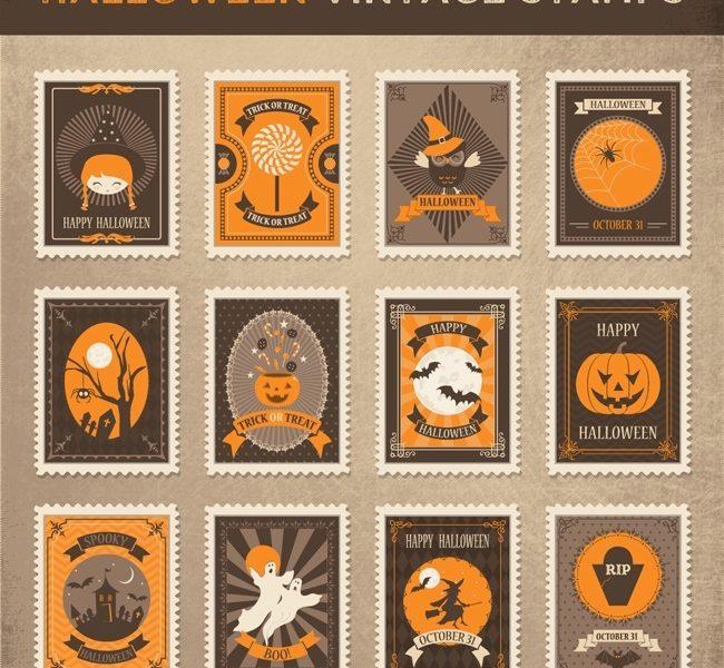 Free Halloween Post Stamp Vectors