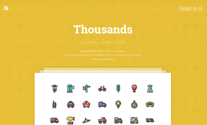 Download 2000 ICONS in PSD, AI & Sketch
