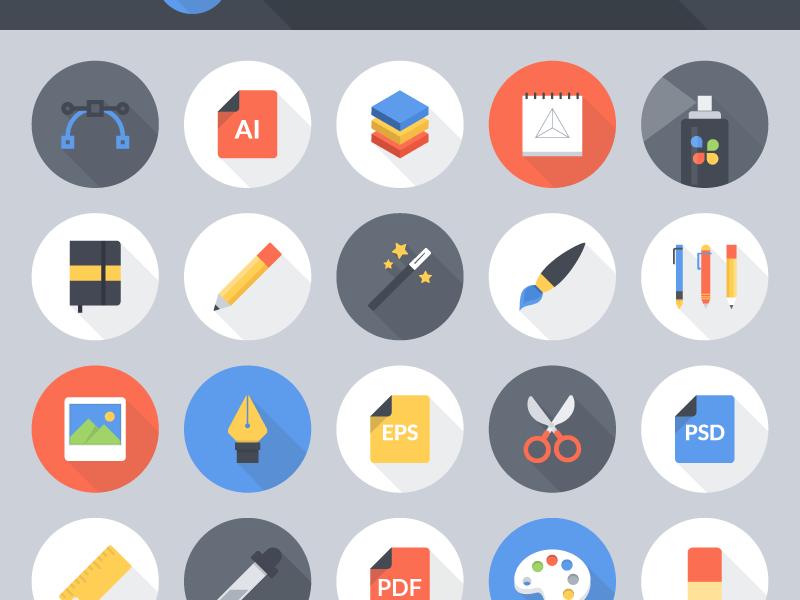 Freebie: Flat Vector Art Tools Icon Set
