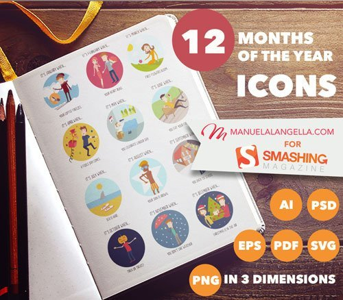 The Months Of The Year Icon Set (12 Icons PSD, AI, EPS, SVG, PNG)