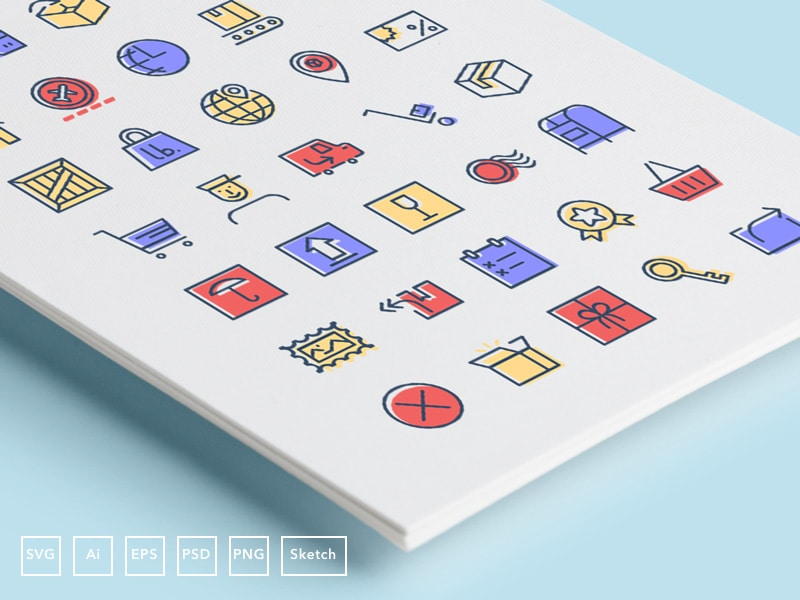 Checkout & Delivery Icons (AI, EPS, SVG, Sketch, PSD, PNG)