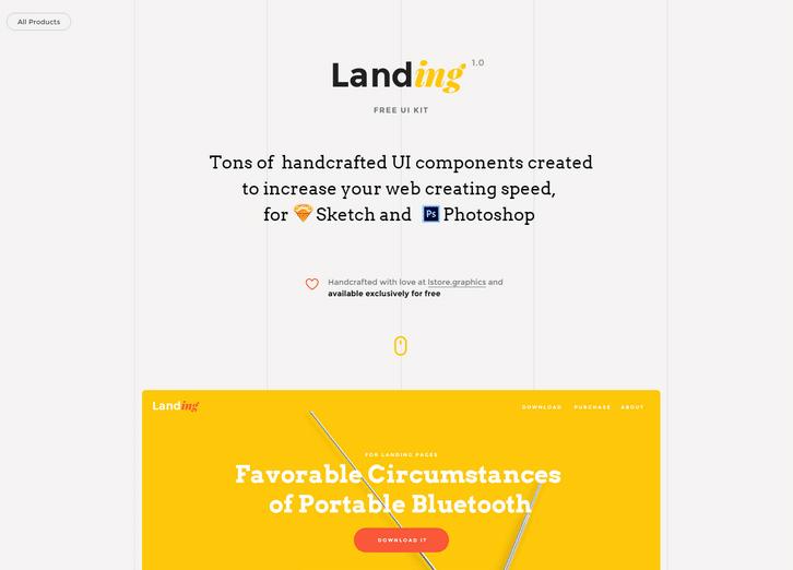 Landing, free UI kit