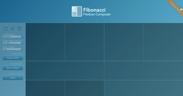 Flexbox page layout composer – Fibonacci