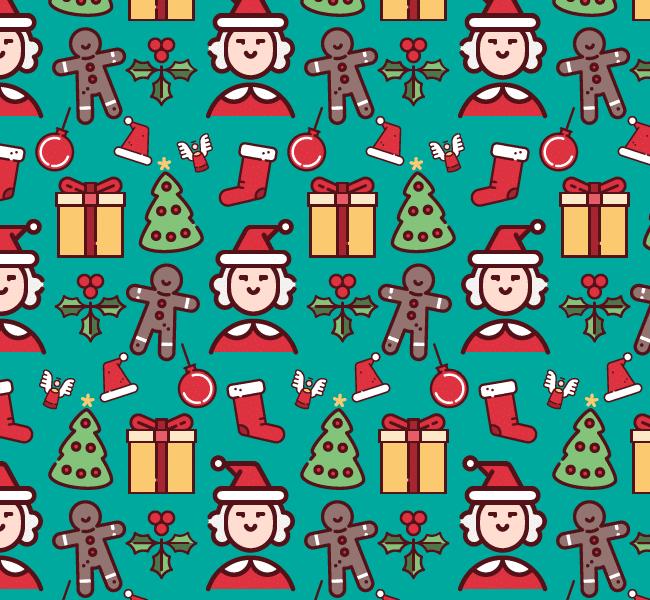 Christmas cute fun free semaless vector pattern