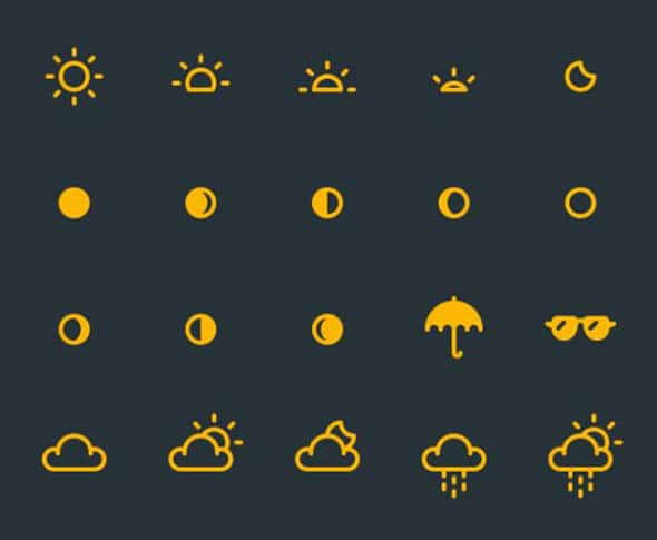 20 Free Weather Icon Sets with Minimal Designs