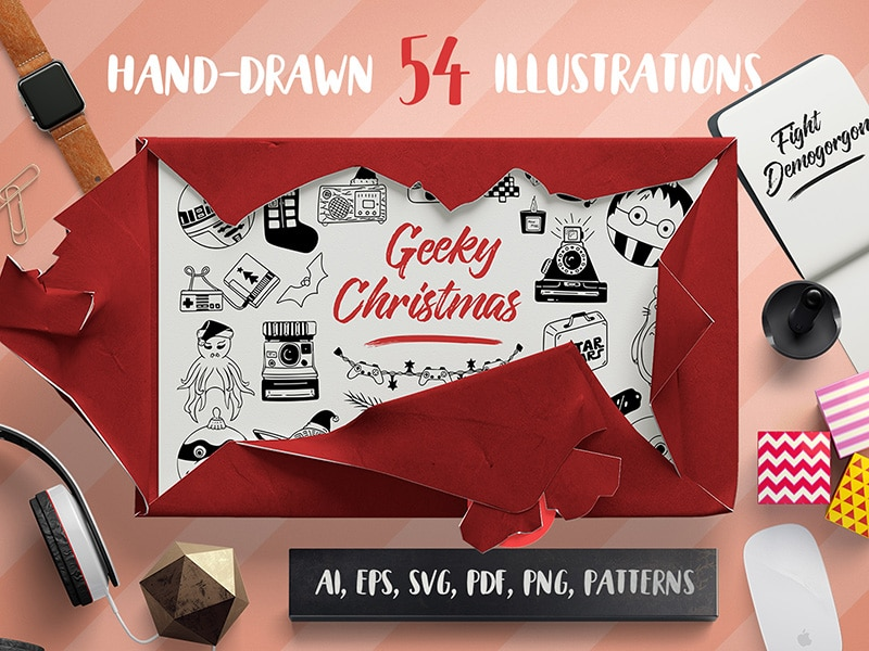 Freebie: Geeky Christmas Vector Set + Patterns