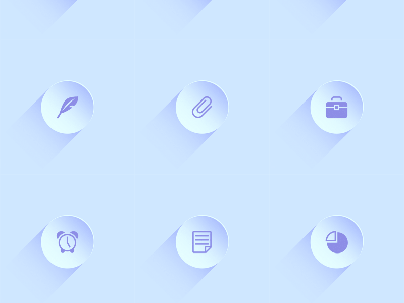 18 Free circular long shadow business icons