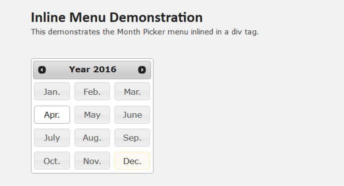 jQuery UI Month Picker Plugin