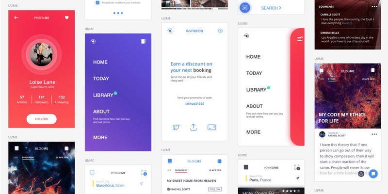 Mobile UI Kit with over 80+ screens