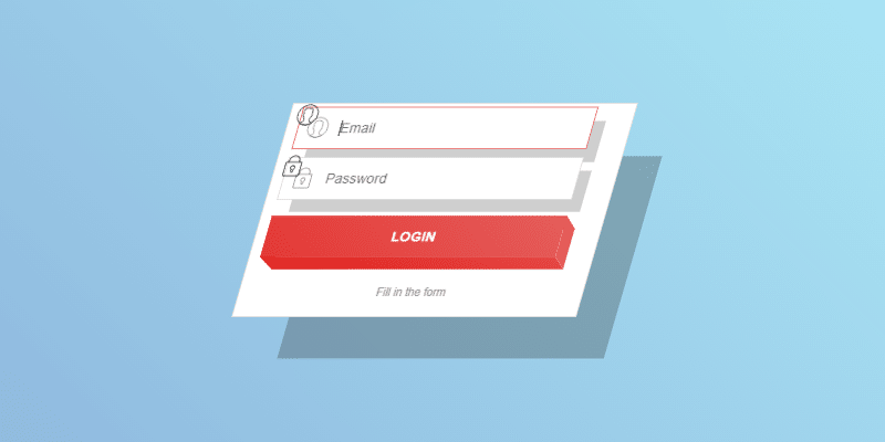 3D Login Form Concept