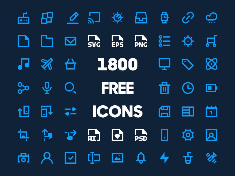 1800 Free Minimal Icon Pack [20×20]