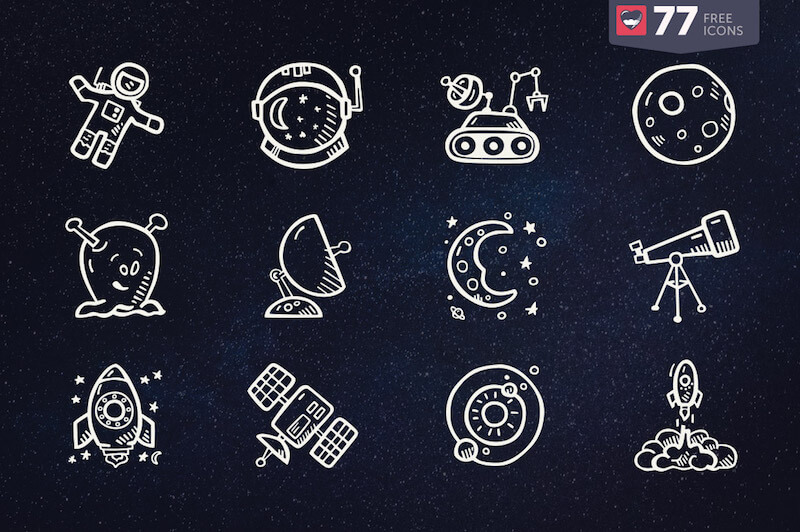 77 Hand-Drawn Space Icons That'll Take You Into Unexplored Territories
