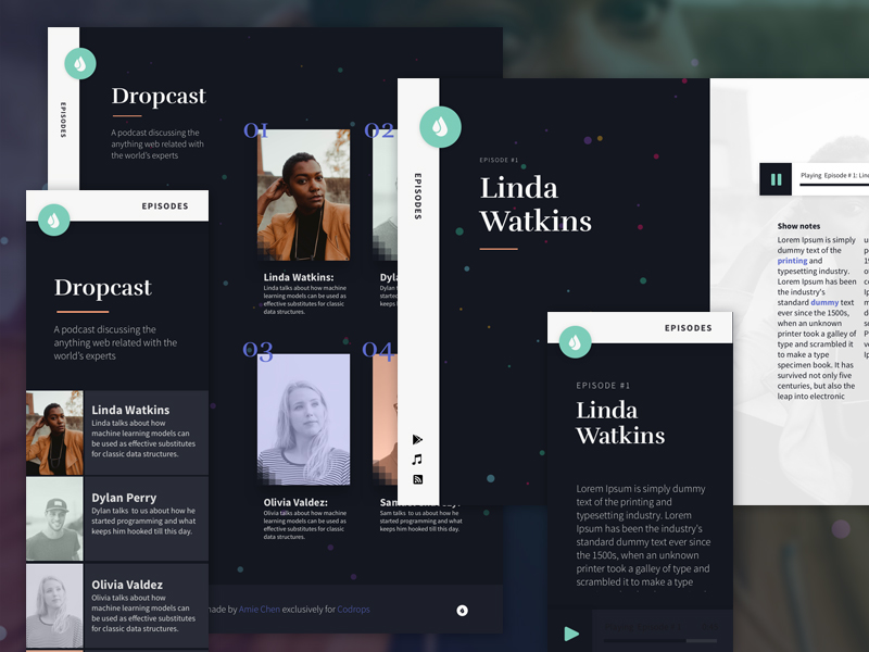"Freebie: ""Dropcast"" Website Template (HTML, Sketch)"