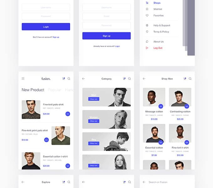 Fusion E-commerce UI Kit — download free ui kits by PixelBuddha
