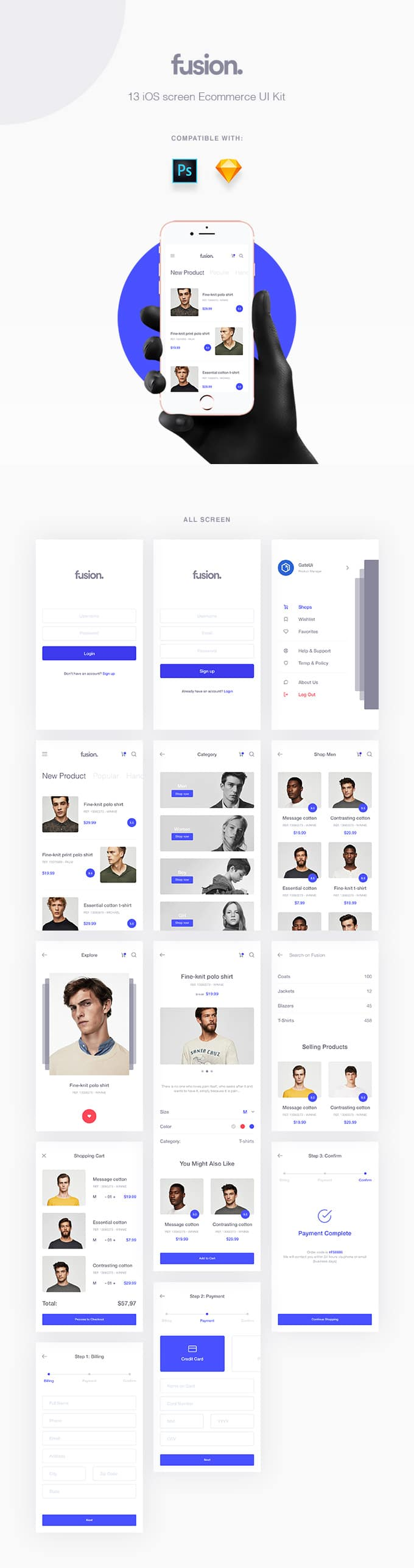Fusion E-commerce UI Kit — download free ui kits by PixelBuddha