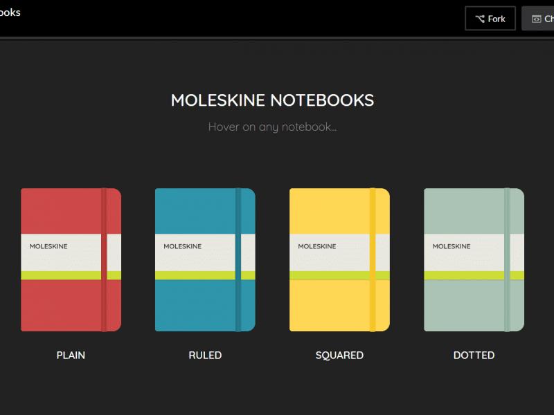 Pure CSS Moleskine Notebooks