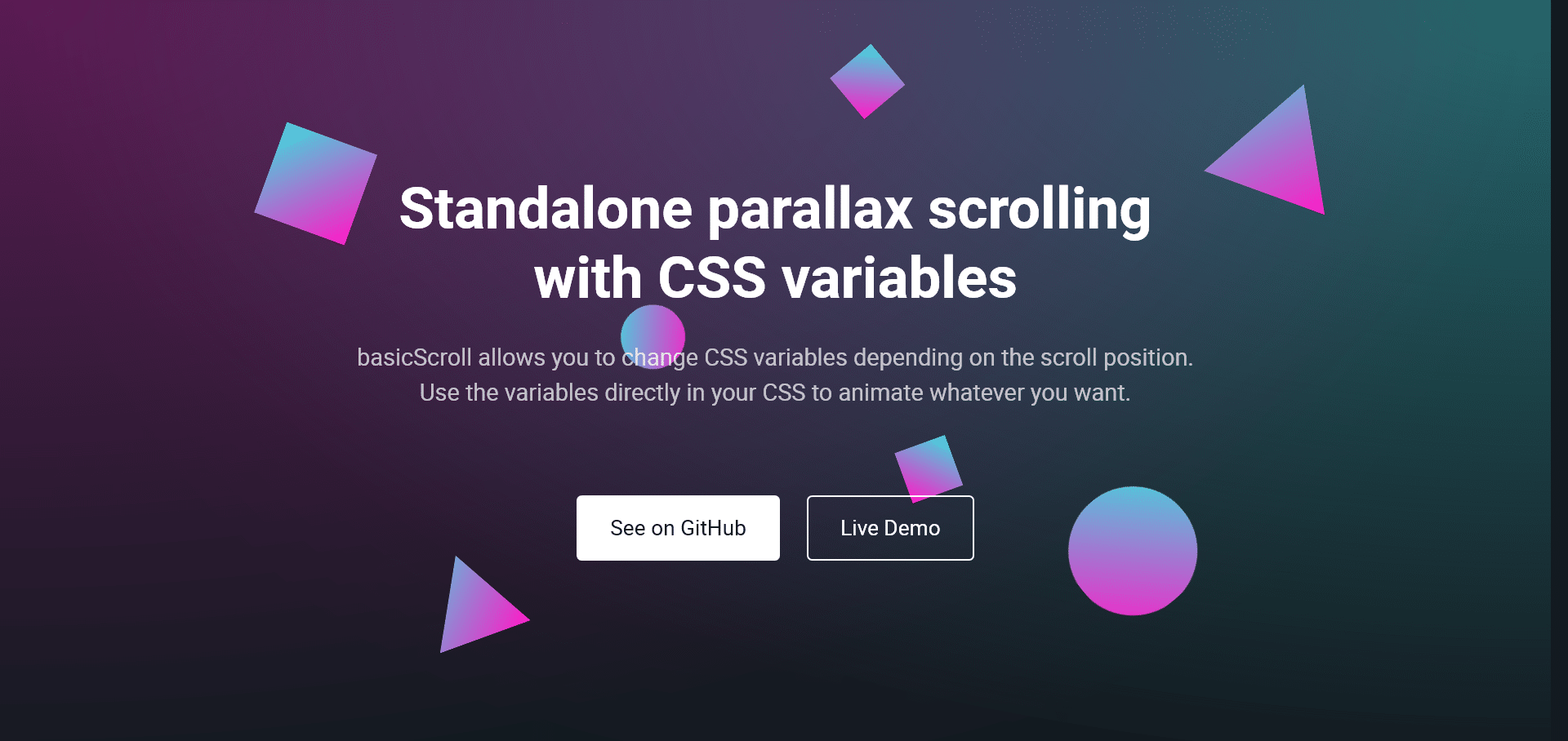 Standalone parallax scrollingwith CSS variables