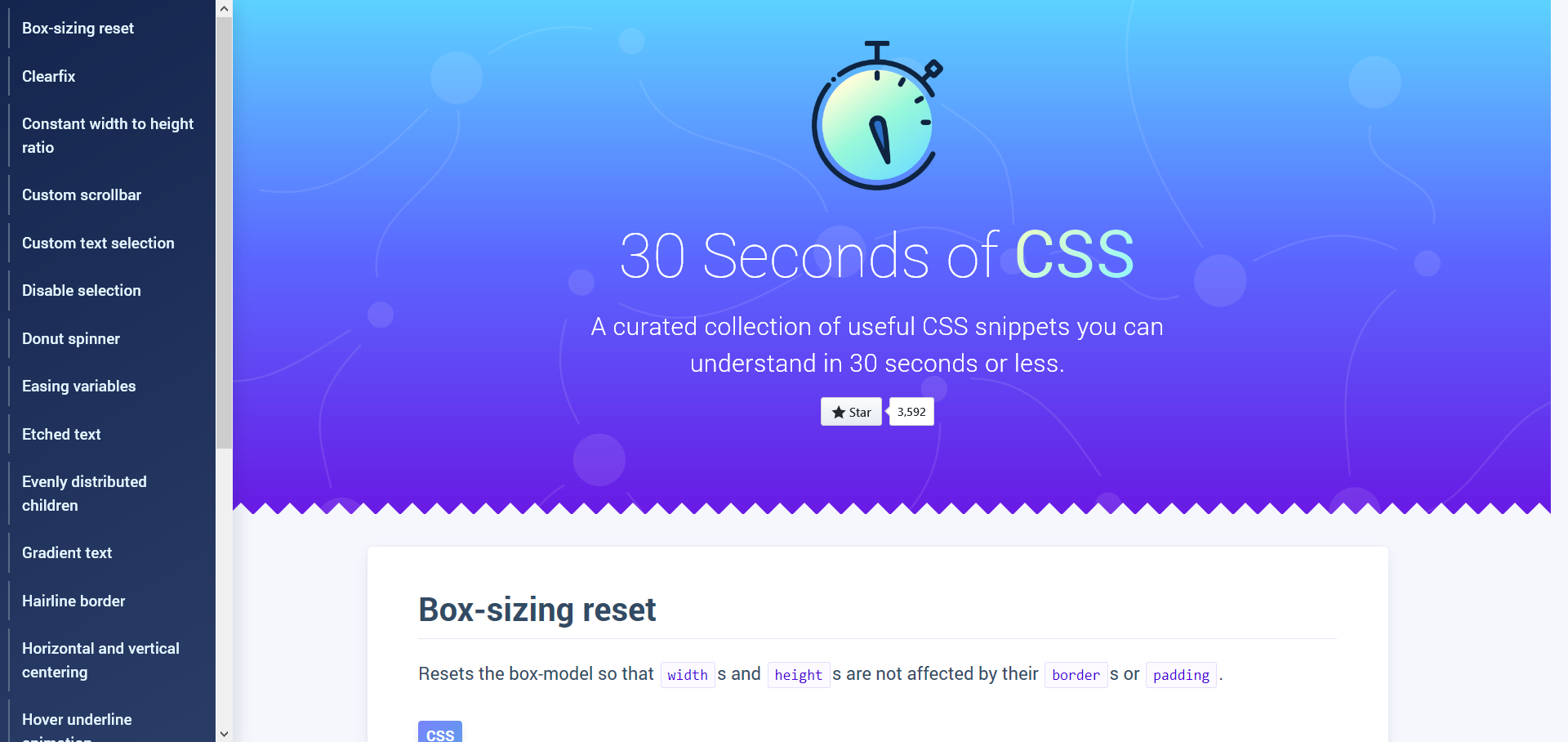 A curated collection of useful CSS snippets