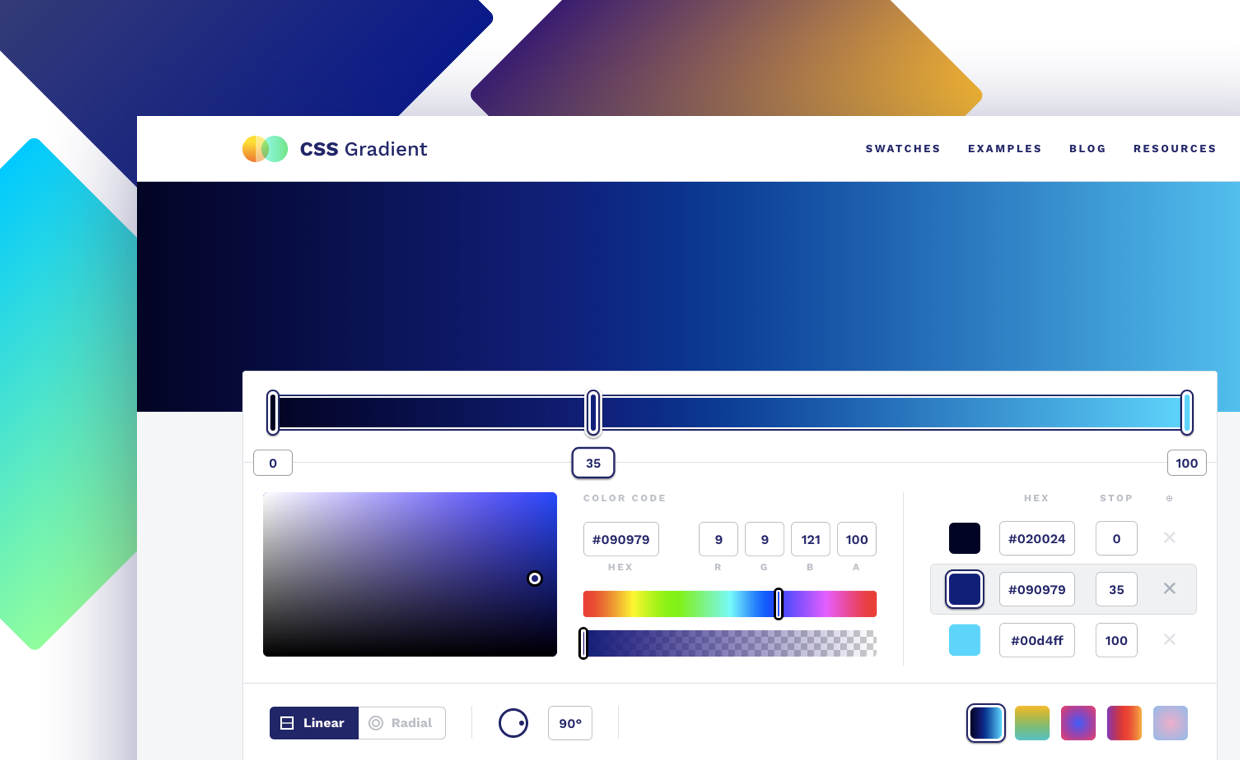 CSS Gradient is a web tool that allows you to get creative with gradients