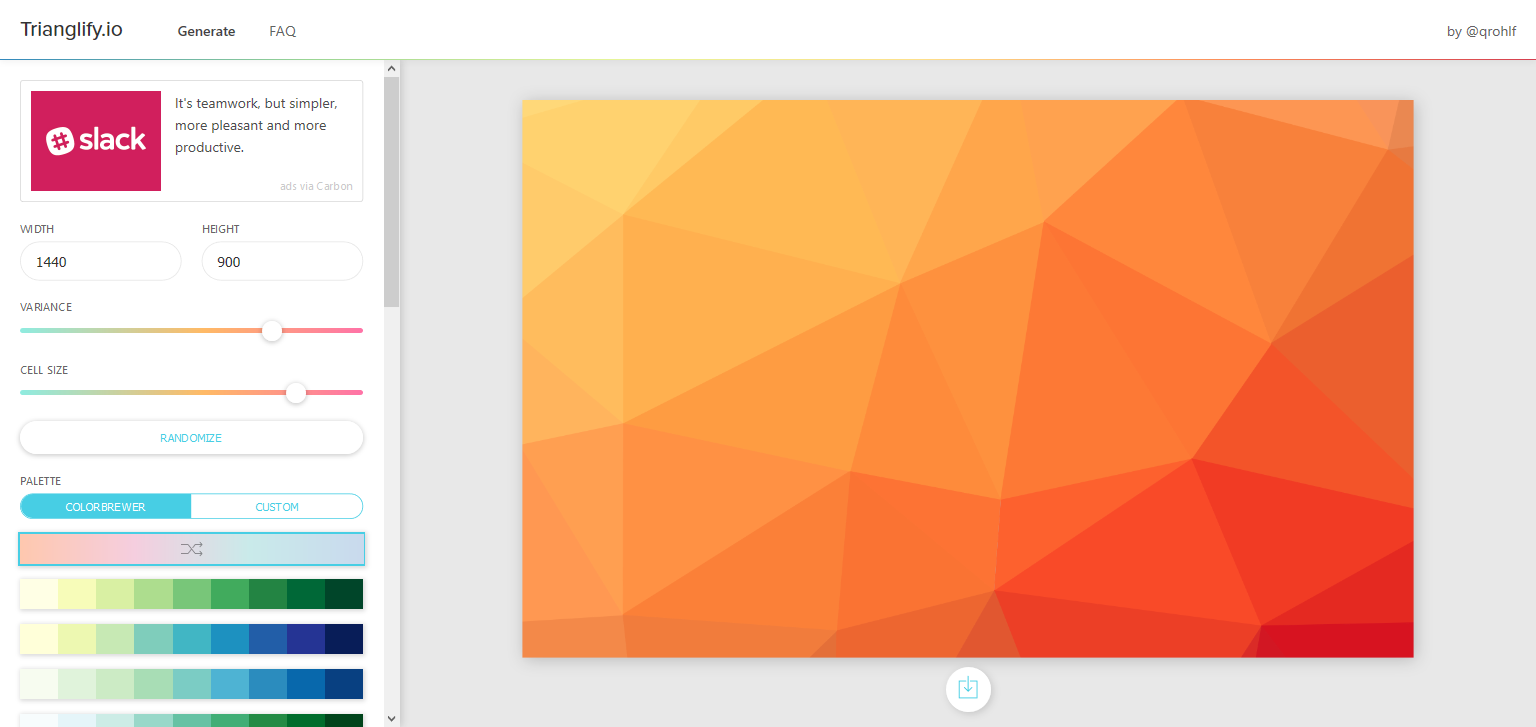 Trianglify.io is a tool to generate low-poly backgrounds, textures, and vectors