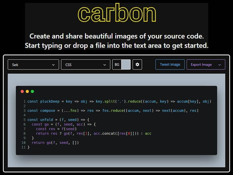 Carbon – create and share images of your source code