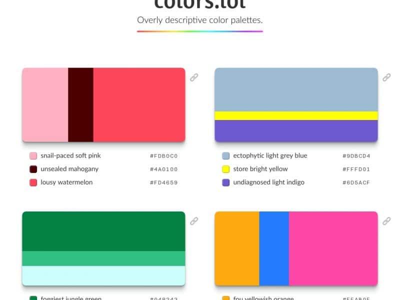 Overly descriptive color palettes – Colors.lol
