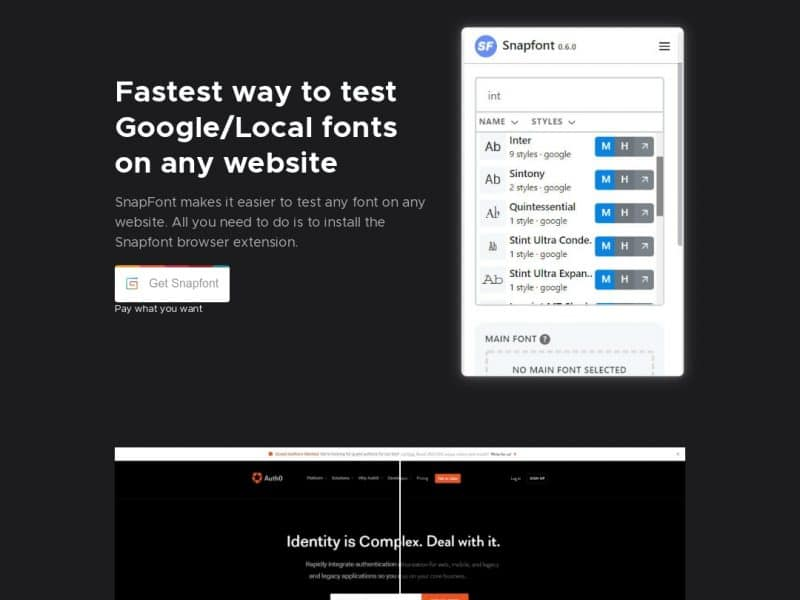 Snapfont – Browser plugin to help you try out Google/Local fonts on website